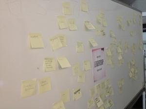Garret lät deltagarna skriva ned sin definition på ledarskap.